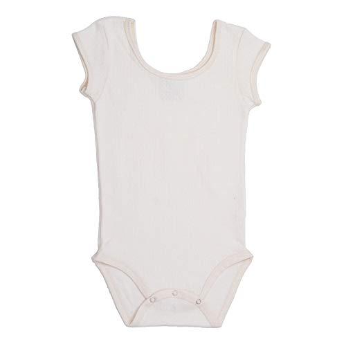 - Lil Lingerie Baby Girls White Cap Sleeve Pointelle Organic Cotton Bodysuit 3-6M