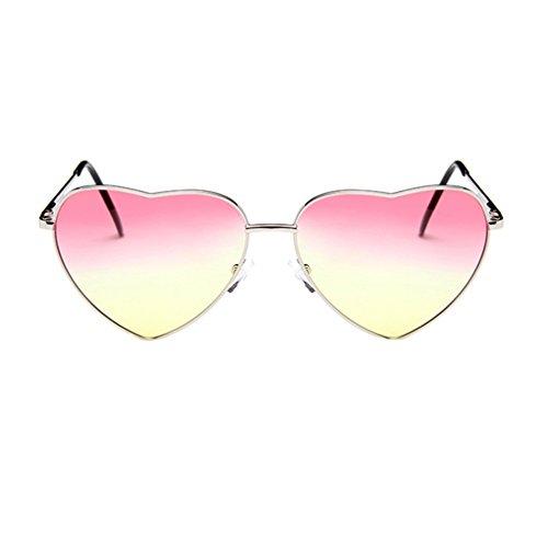 Hombres Marco Retro Forma de Eyewear de Pink Sol LINNUO Marco Metal Sunglasses Aviador Mujer de Amarillo Plata Corazón Gafas Colores twv8fqZ