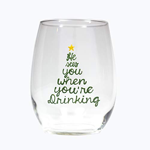 Christmas Tree Wine Glasses 21oz Painted He Sees You When You're Drinking