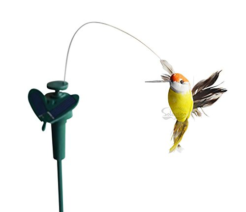 Hummingbird Statue (Solaration Solar or Battery Powered Fluttering Hummingbird, Real Feather Wings and Tails)