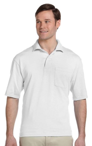 Jerzees Mens 50/50 Jersey Pocket Polo with SpotShield (436P) -WHITE -2XL