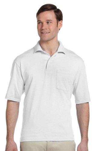 Jerzees Pocket - Jerzees Mens 50/50 Jersey Pocket Polo with SpotShield (436P) -WHITE -2XL