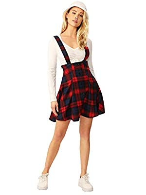 SheIn Women's Tartan Plaid Button Decor Flared Skater Pinafore Suspender Overall Skirt