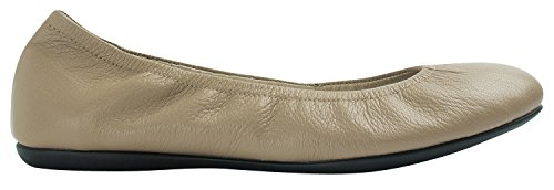 SOYOU Womens Round Toe Genuine Leather Comfort Ballet Flat Shoes Camel l4Dn2U