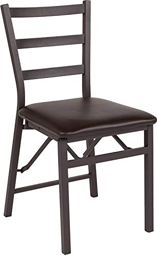 Emma Oliver Brown Folding Ladder Back Metal Chair with Brown Vinyl Seat