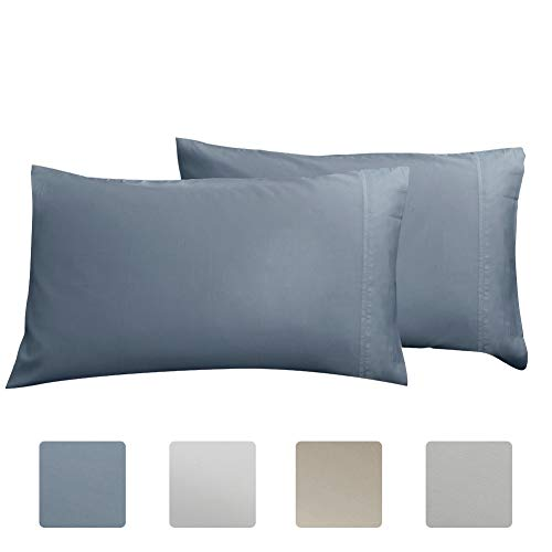 Standard Pillowcase Set of 2, Luxury Hotel Pillow Cases, 100% Long Staple Cotton 600 Thread Count, Sateen Weave, Premium Quality Queen pillowcase 2 Piece(Standard, Blue)