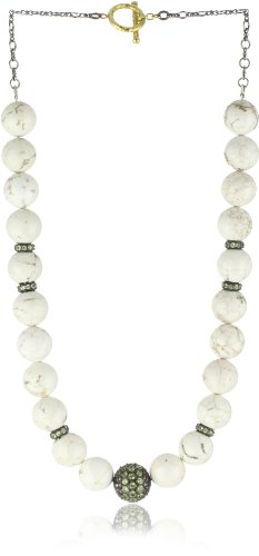 "Jordan Alexander 18"" White Turquoise with Peridot Bead Necklace"