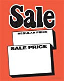 SYC111 - Sale ''Regular Price Sale Price'' - Fluorescent Slotted and Punched Sale Tags with Center Slit - (100 Per Pack) (3 1/2'' x 51/2'')