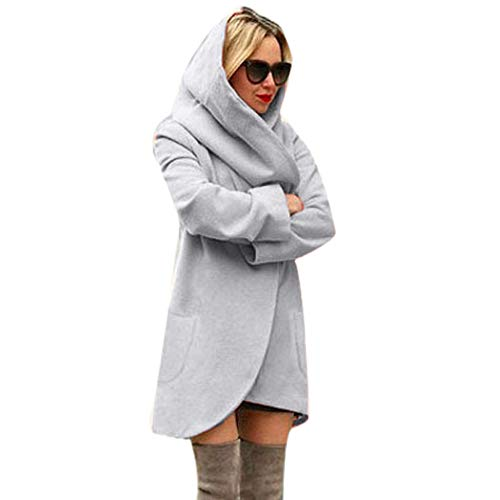 DONTAL Women Woolen Hooded Thin Coat Loose Ladies Casual Hoodies Jacket Overcoat Top Gray ()