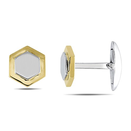 Two Tone Diamond Cufflinks - 14k Two-tone Gold Cuff Link Pin