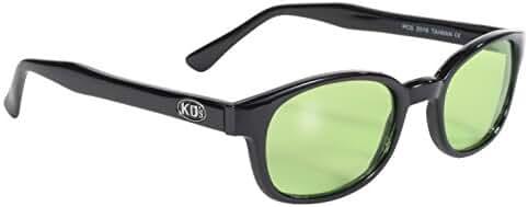 Pacific Coast Original KD's Biker Sunglasses (Black Frame/Green Lens)