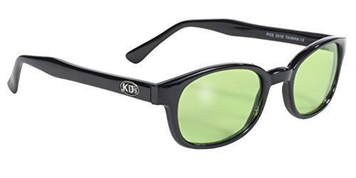 Pacific Coast Original KD's Biker Sunglasses (Black Frame/Green Lens)