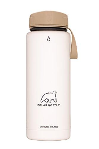 Polar Bottle Thermaluxe - Vacuum Insulated Stainless Steel Travel Mug, White Powder Coat {Half-Twist Cap - Desert} 21 oz.