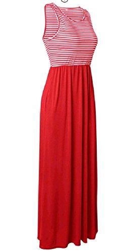 Strisce Lunga Vestito Patchwork Tasca Girocollo Curve Spiaggia Coolred Rosso Maniche donne Slittamento qg8w8R