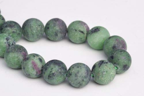 10mm Genuine Natural Matte Ruby Zoisite Grade Round Gemstone Loose Beads 7.5'' Crafting Key Chain Bracelet Necklace Jewelry Accessories ()