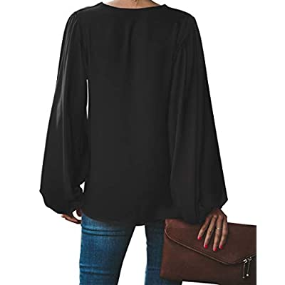 BELONGSCI Women's Casual Sweet & Cute Loose Shirt Balloon Sleeve V-Neck Blouse Top at Women's Clothing store