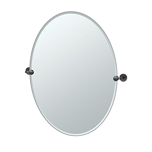 Gatco 4249MXLG Latitude II Large Oval Mirror, Matte Black by Gatco