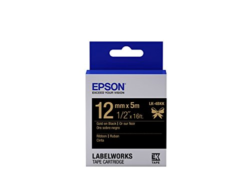 "Epson LabelWorks Ribbon LK (Replaces LC) Tape Cartridge ~1/2"" Gold on Black (LK-4BKK) - For use with LabelWorks LW-300, LW-400, LW-600P and LW-700 label printers"