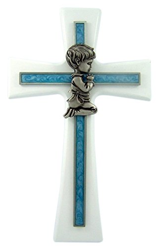 White Walnut Wall Cross with Blue Epoxy Overlay and Praying Boy, 7 Inch