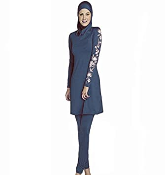 45101cb0ee8 Women Plus Size Printed Floral Muslim Swimwear Arab Islamic Swimsuit Women  Hijab Muslim Swimming Beachwear (