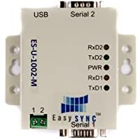 2 port USB to RS232 Adapter, DIN Rail option, Metal Case