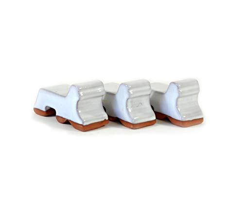 """Ceramic Pot Feet 3-Pack -White Glaze- Made In USA- Flower Pot Risers Glazed Ceramic - Handmade - Stoneware Clay - Frost Proof - Made For Planters- 3"""" Long x 1.5"""" Tall - Recommended for 14""""-20"""" Pots"""