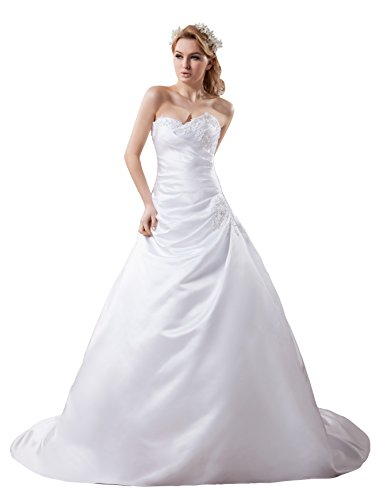 Vogue007 Womens Sweetheart Pongee Silk Wedding Dress with Flower, ColorCards, 16 by Unknown