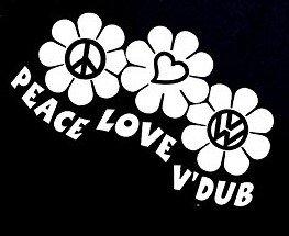 Peace Love Dub VW Volkswagon Decal Vinyl Sticker|Cars Trucks Vans Walls Laptop| WHITE |5.5 x 4.25 (Dub Jacket)