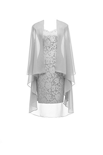 Short Lace Silver Mother of the Bride Dress with Jacket Formal Gowns