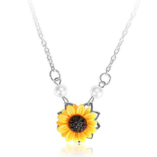 - Kaputar Charm Women Clavicle Chain Flower Pendant Pearl Sunflower Necklace Bohemian | Model NCKLCS - 20629 |