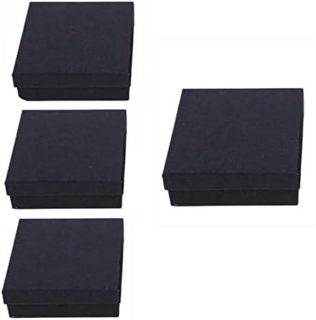 6er Pack Handgefertigte Mini Kraftpapier Schmuckschachteln |9*9*3cm| Schwarz | Karton Ringe Ohrringe Aufbewahrungsetui,Geschenkboxen mit quadratischem Boden,DIY-Verpackung für Party Festival