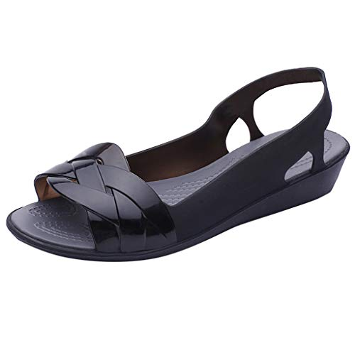 - Women Marry Jane Falts Jelly Shoes Summer Ankle Strap Summer Beach Walking Flat Waterproof Slingback by Lowprofile Black
