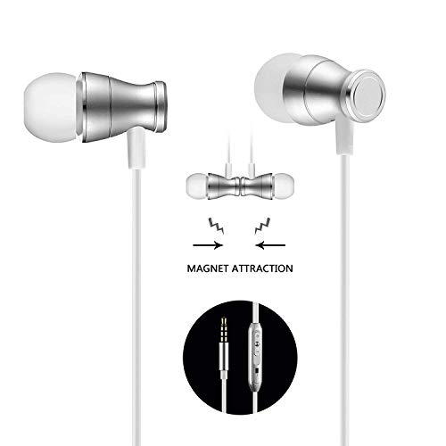 Bambud in-Ear Earbuds Headphones, Bambud Magnetic Wired Earphones Stereo Noise Cancelling Earphones with Mic and Volume (Silver)