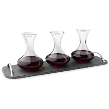 Final Touch WD304 Wine Flights Decanter with Slate Tray, Set of 3