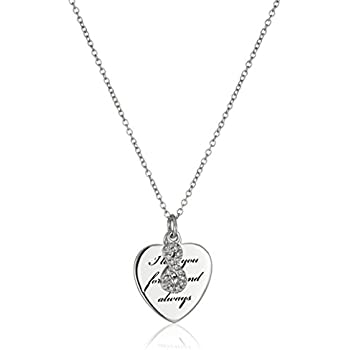"""Amazon.com: Sterling Silver """"I Love You Forever and Always ..."""