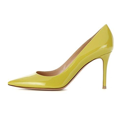 Heels Schuhe Court Pumps 8cm Elegante ELASHE Frauen Zehenstilett High Lack Grün Spitze xfqEq4gBw