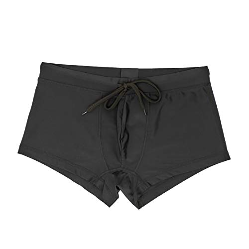 (5th Industry - 20+ Styles - Mens Swim Brief Square Leg Swimsuit - Black Patch -)