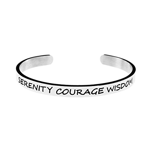 Joycuff Courage Stianless Steel Inspirational Cuff Bangle for Women Prayer Jewelry Wish Bracelet Jewelry Serenity Courage -