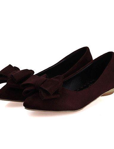 eu39 piel talón de de plano black PDX rojo negro amarillo Toe us8 Flats zapatos mujer marrón uk6 cn39 sintética Casual punta qYnIwUxw