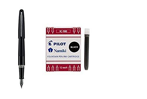 - Pilot Metropolitan Collection Fountain Pen, Black Barrel, Classic Design, Medium Nib, Black Ink (91107) + 12 Pack of Ink Refills