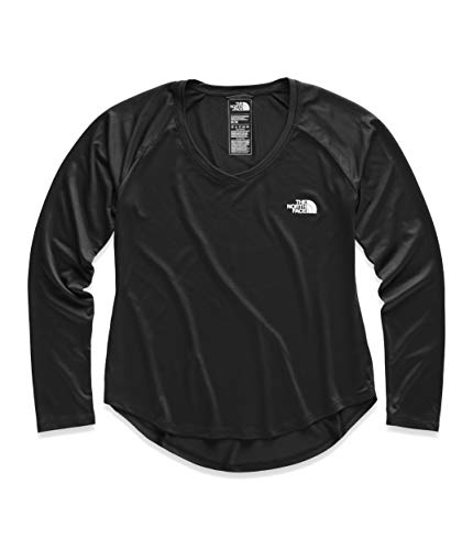 The North Face Women's Long Sleeve Reaxion Amp Tee, TNF Black/TNF White, Size XL