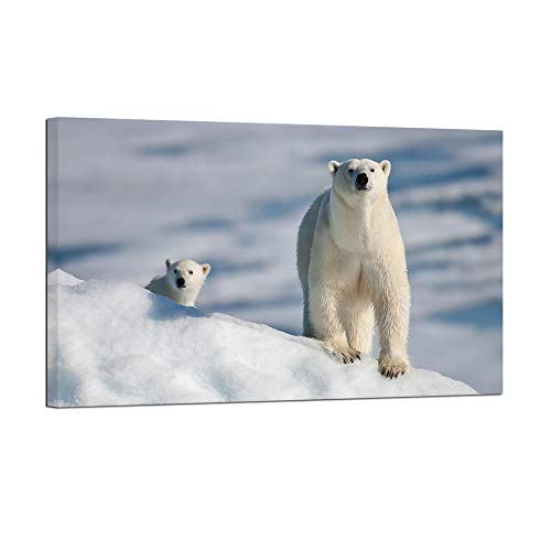 ArtBones Wild Animal Prints Two Polar Bear Picture Giclee Canvas Wall Art Arctic Landscape Painting Framed Artwork Ready to Hang 20