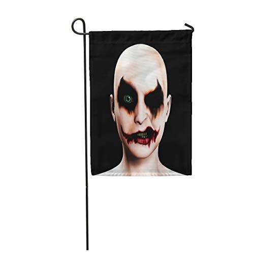 Tarolo Decoration Flag Scary Evil Psychotic Female Clown Halloween Face Joker Psychopath Circus Thick Fabric Double Sided Home Garden Flag 12