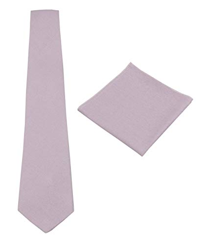 Mens Solid Linen Tie Set : Necktie with Matching Pocket Square-Various Colors (Dusty Lilac)