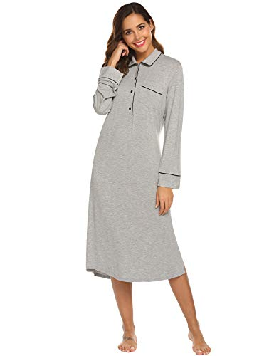 Ekouaer Long Sleeves Cotton Sleepshirts Women's Nightgowns Full Length Sleep Dress, Flower Grey, XX-Large