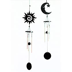 Sun and Moon Wind Chimes Set of 2 –Outdoor Home décor, Patio, and Garden Gifts - Elegant Metal Design Chimes with Relaxing and Soothing Melodic Tones
