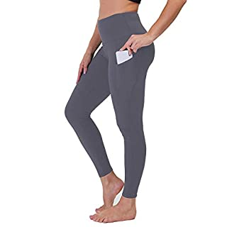 High Waist Yoga Pants with Pockets for Women - Tummy Control Workout Running 4 Way Stretch Yoga Leggings (Dark Grey, Large)