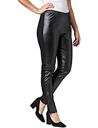 Women's Plus Size Ankle Zip Leather and Ponte Jeggings