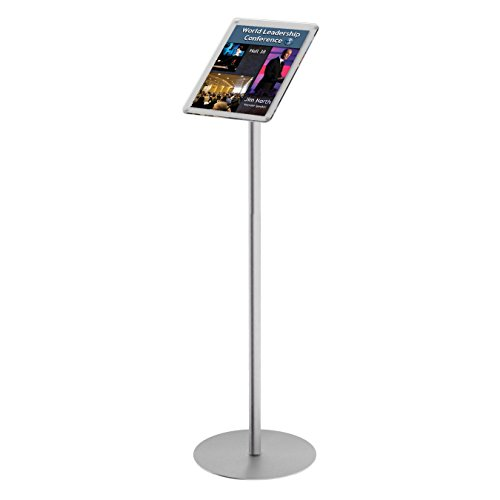 Source One LLC Premium Pedestal Floor Stand Sign Holder Directional Message Info Board Greeter Silver& Brass Options (Silver)