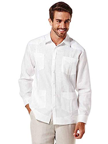 Cubavera Long Sleeve 100% Linen Plain Front Pleated Guayabera Shirt (3XB, ()